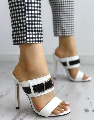 Chic Buckled White Heels