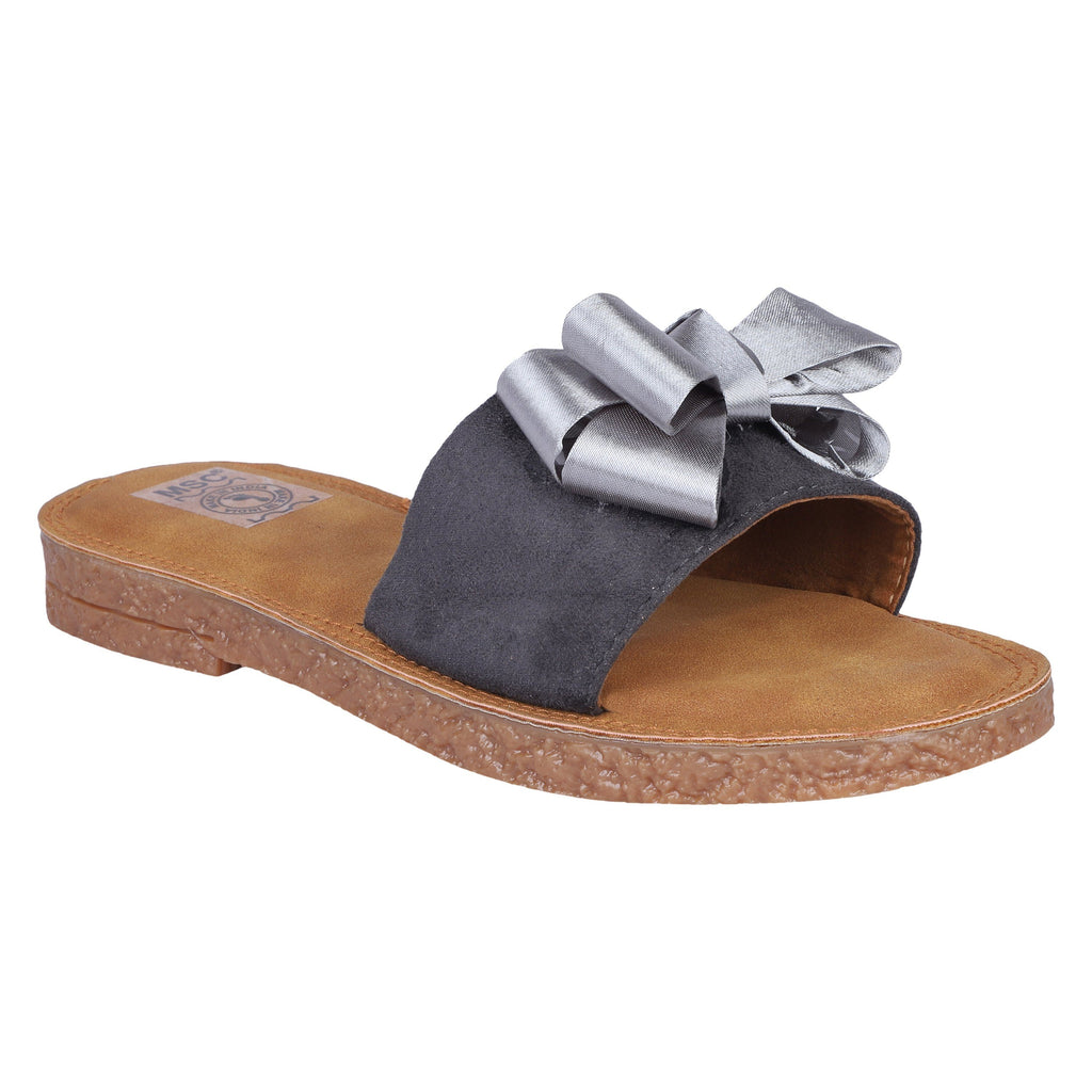 MSC Women Grey Synthetic Crepe Stylish Sandals
