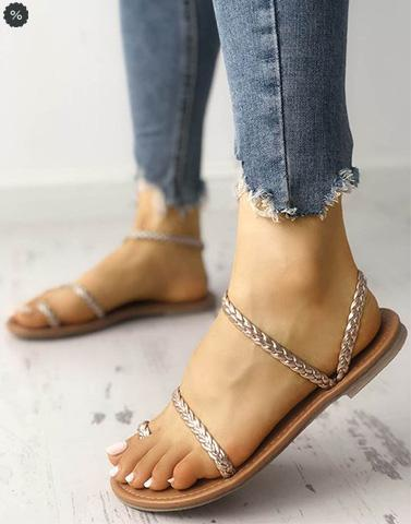 Braided Beauty Rose Gold Flats