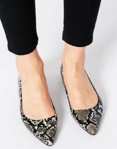 Black Pointed Snakeprint Flats