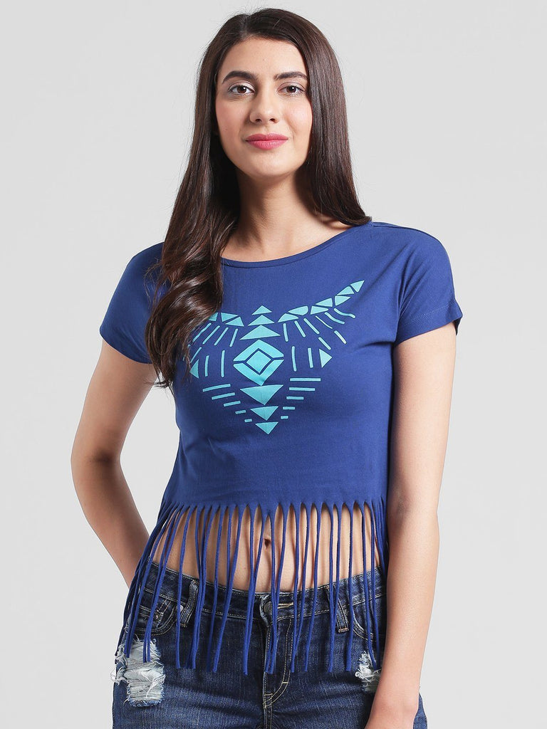 Blue Aztec Print Fringes Top
