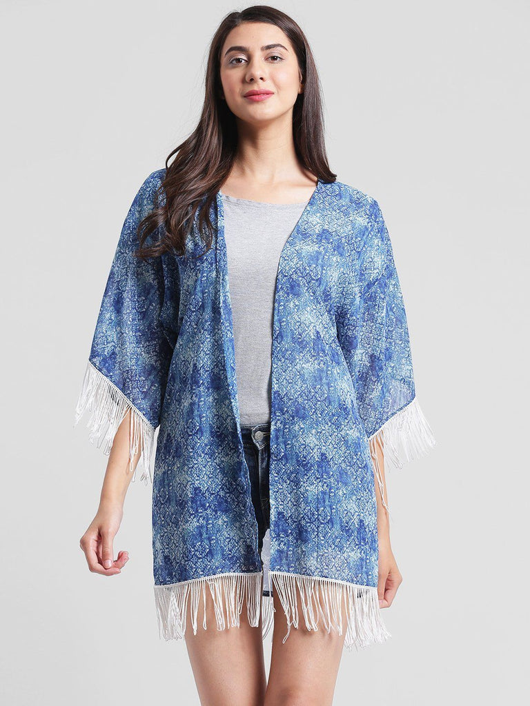 Blue Abstract Printed Kimono Shrug