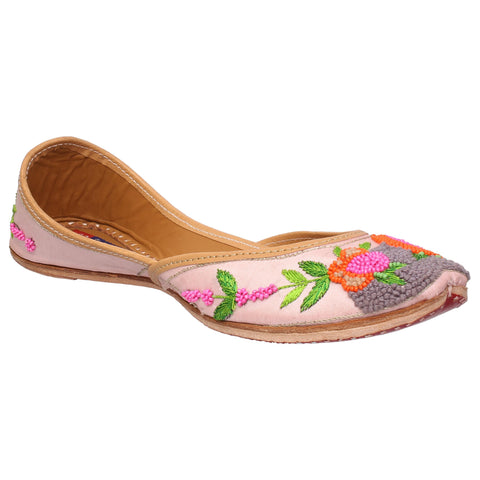 MSC Leather Stylish Fancy Peach Flat Juttis For Women