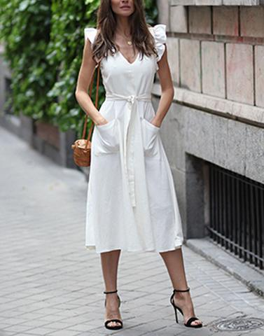 Ladylike White Long Dress