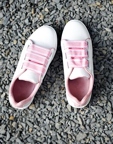 Sporty White & Pink Sneakers