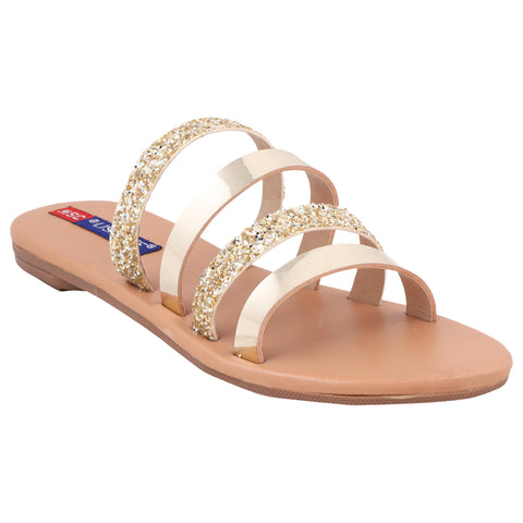 MSC Women Gold Synthetic Stylish Sandals
