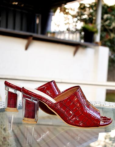 Textured Red Leather Heels