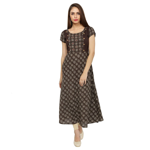Jaipur Printed Brown Cotton Boat Neck Cap Sleeves Kurtis
