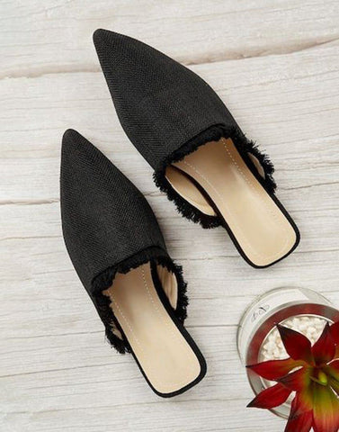 Formal Striped Black Flats
