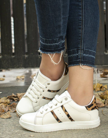 Wild In White Leopard Sneakers