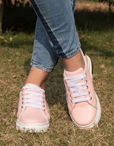 Love Pink Metallic Sneakers