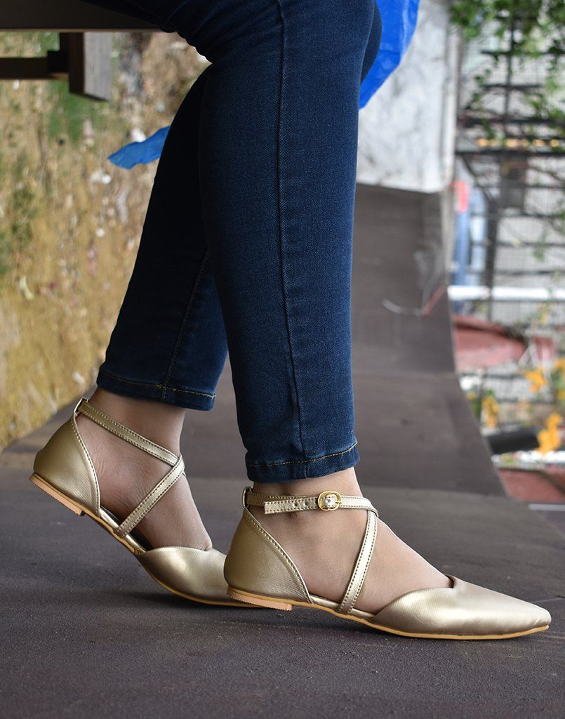 Cross-Straped Gold Ballerina