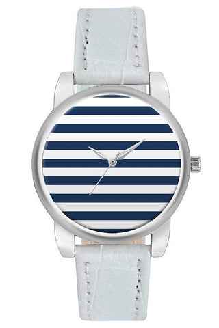 Striped Silver Watch