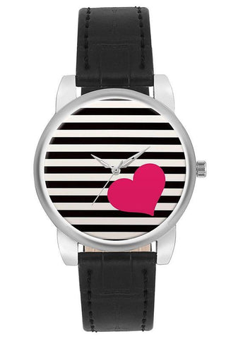 Analogue Heart Striped Girl's Watch