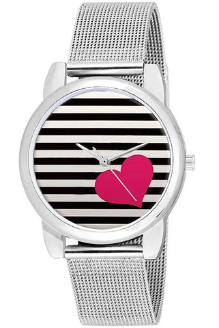 Silver Chained Striped Dial Girl's Watch