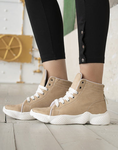 Beige High Top Sneakers