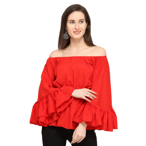 Brahmani Red Butterfly Top