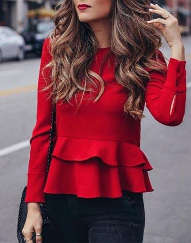 Ravishing In Red Peplum Top