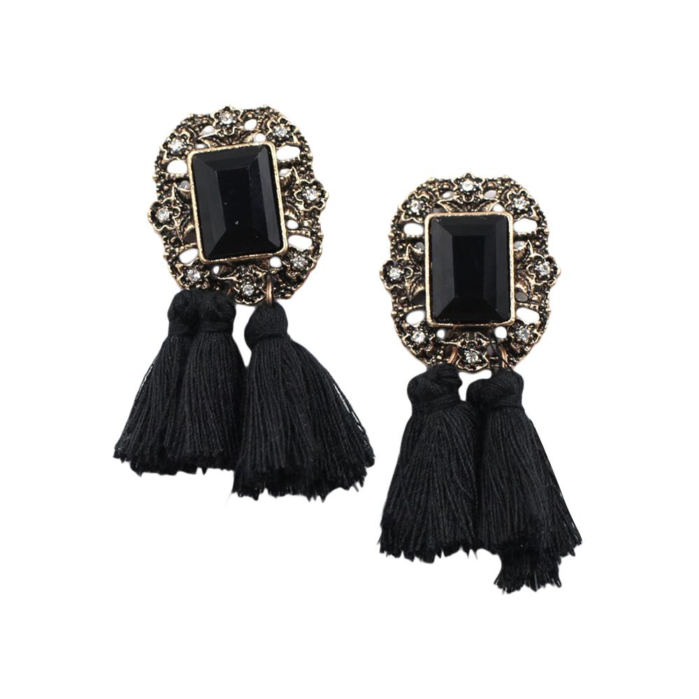 Black Statement Tassel Earring