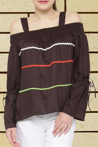 Strap Cut Out Brown Top
