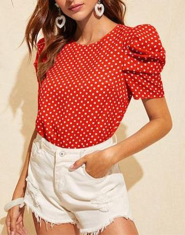 Pretty Puffed Polka Crape Top