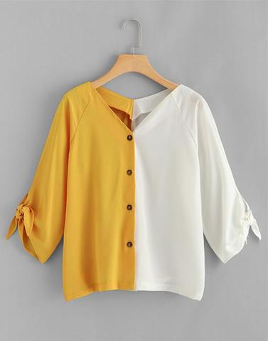 Halfway Yellow Colorblock Top