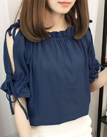 Slit Sleeves Poly Crape Top