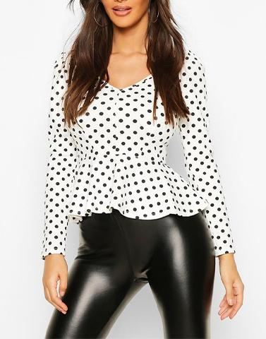 Black & White Polka Blossom Top