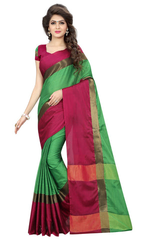 Florence Green Pure Cotton Plain Saree With Blouse (28-FL-AngiGreen_pink1)