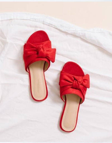 Deep Red Bow Slip-On Flats