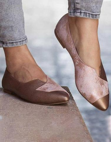 Bronzed Up Textured Flats