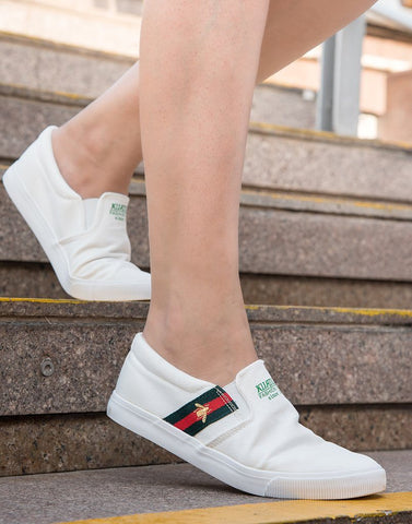 Trendy White Lace-Up Sneakers