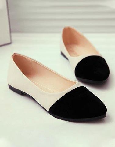 Double Up Cream Ballerinas