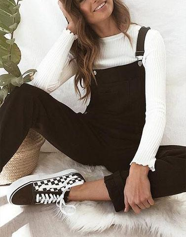 Casual Styled Black Dungaree