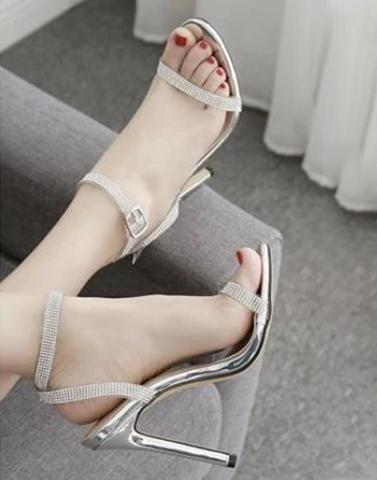 Silver Buckled Pencil Heels