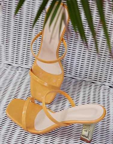 Yellow Casual Block Heels