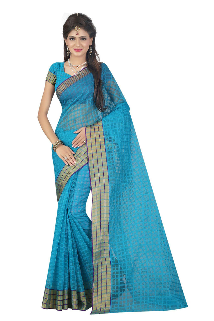 Florence Blue Poly Cotton Plain Saree With Blouse (3-FL-Shivani Ferozi)