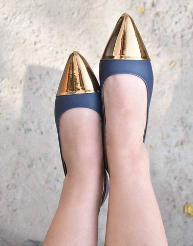Navy Blue Metallic Belly Flat