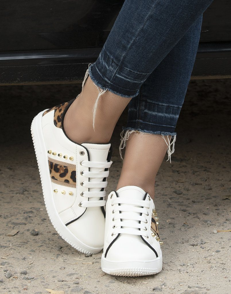 Sassy Studded White Sneakers