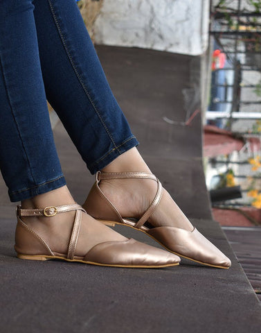 Cross-Straped Rose Gold Ballerina
