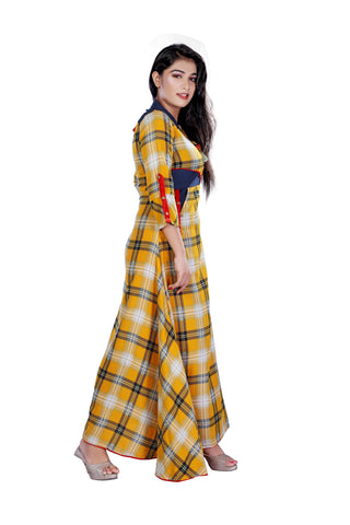 Krizler Rayon Women Long Kurti Designer Red Dress (Long Dress)