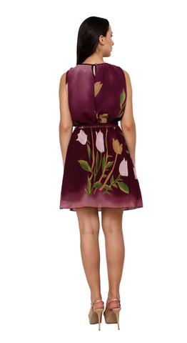 Fit And Flare Botanical Prints A line Maroon Georgette Dress