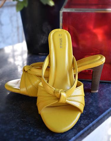 Sunshine Yellow Leather Heels