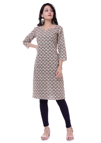 Jaipur Printed Brown Cotton Straight Kurtis