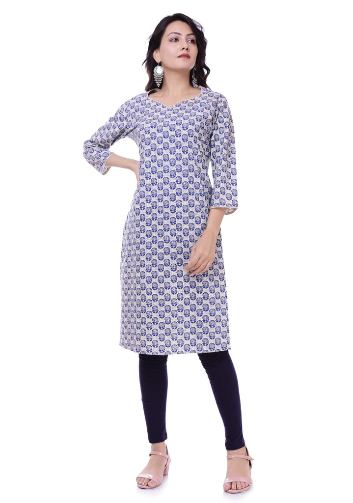 Jaipur Printed Blue Cotton Straight Kurtis