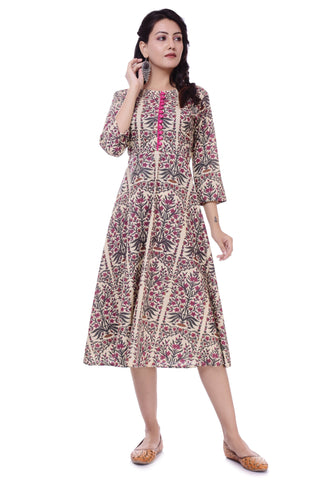 Jaipur Printed Pink Cotton Round 3/4 Sleeves Kurtis