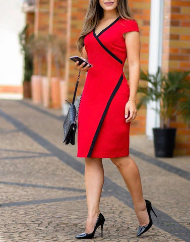 V Neck Red Cocktail Dress