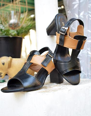 Black Baby Leather Heels