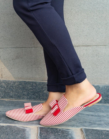 White Red Stripe Mule Flats