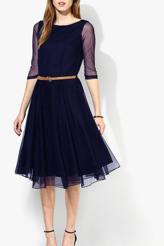 Navy blue Net Midi Dress